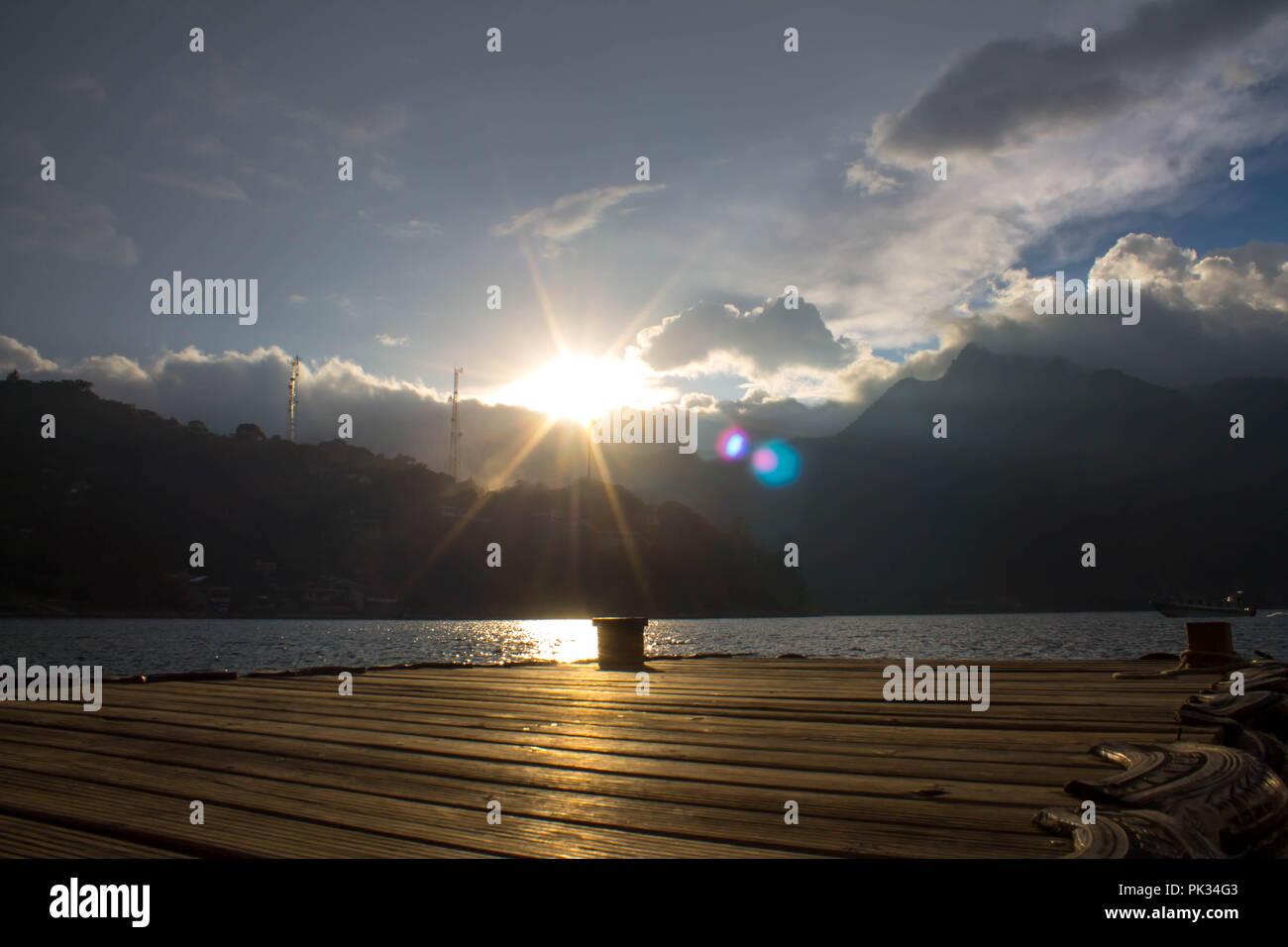 Sunset on Lake Atitlan - Stock Image