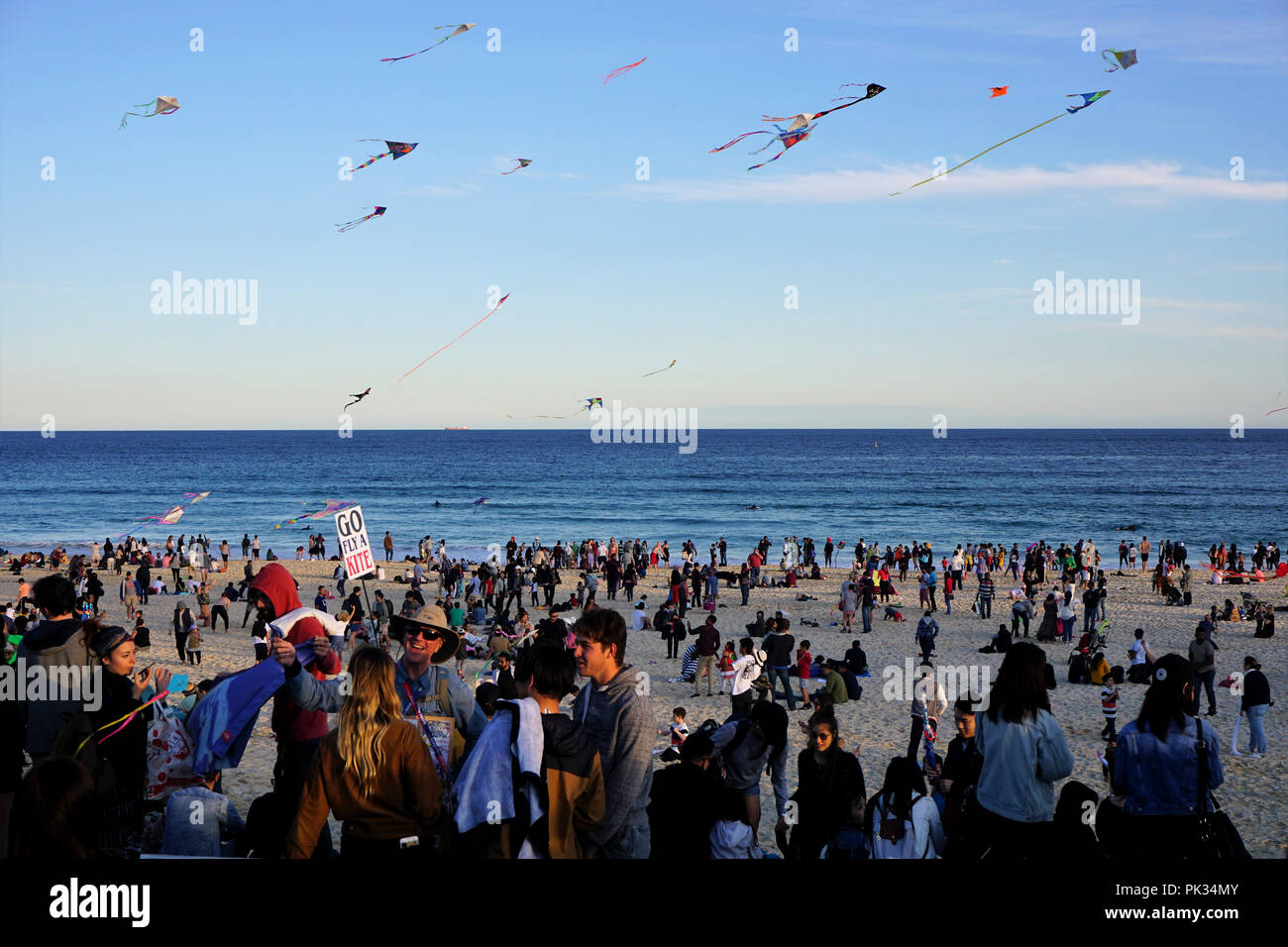 Flying Kites at the Festival of the Winds at Bondi Beach, Australia - Stock Image