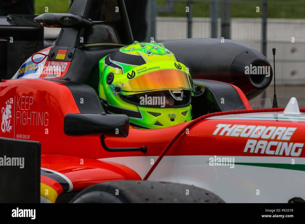 Mick Schumacher, son of seven-time Formula 1 Champion Michael, in the FIA Formula 3 European Championship, driving for Prema Powerteam. - Stock Image