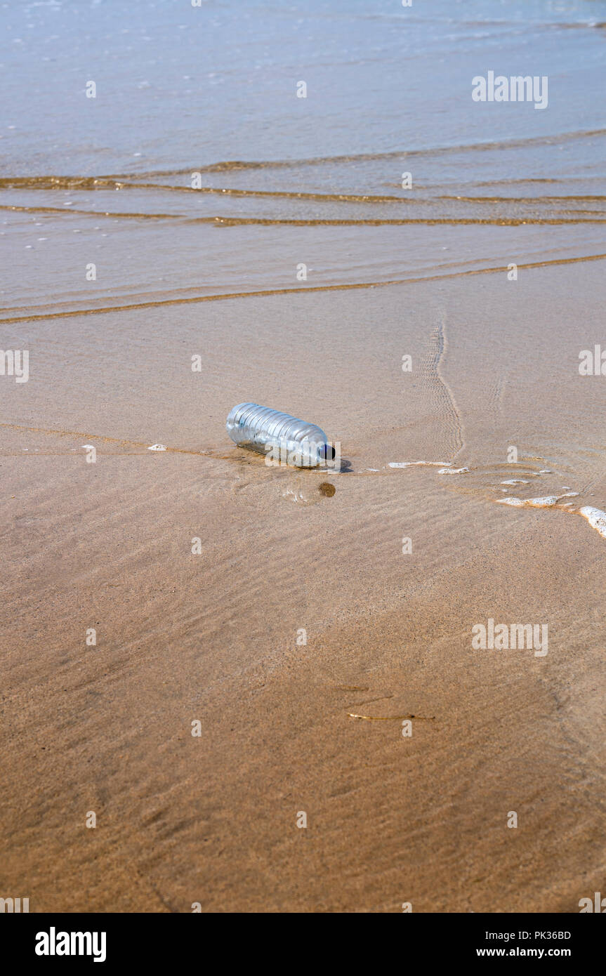 Discarded plastic bottle polluting a beach - Stock Image