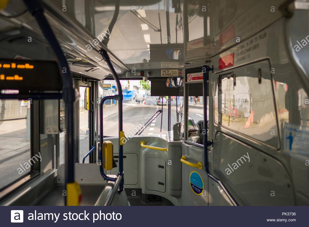 Inside an Alexander Dennis Enviro400 bodied Volvo B9TL Dublin Bus on Pearse Street, Docklands, Dublin, Leinster, Ireland - Stock Image