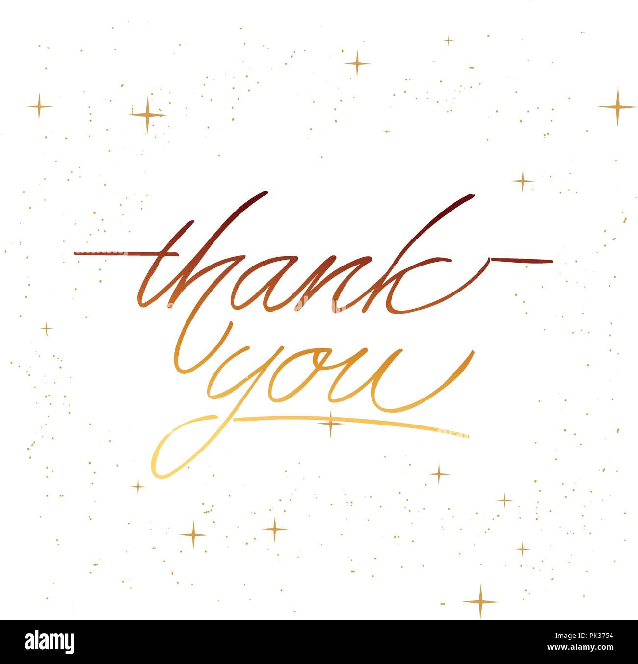 Thank you - hand lettering inscription to holiday design, black and white ink calligraphy - Stock Image