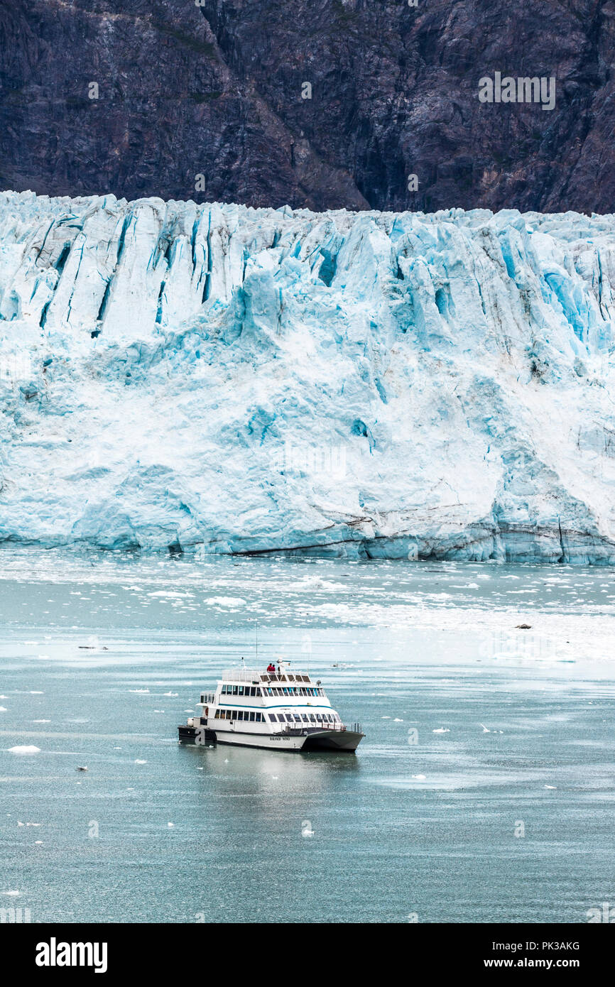 The tour boat Baranof Wind giving sightseers a close up view of the broken face of the Margerie Glacier in the Tarr Inlet of Glacier Bay, Alaska, USA - Stock Image