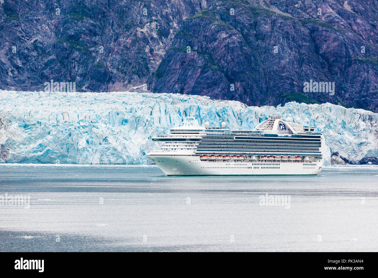 Passengers on the Princess Cruises 'Ruby Princess' enjoying a close view of the Margerie Glacier in the Tarr Inlet of Glacier Bay, Alaska, USA - Viewe - Stock Image