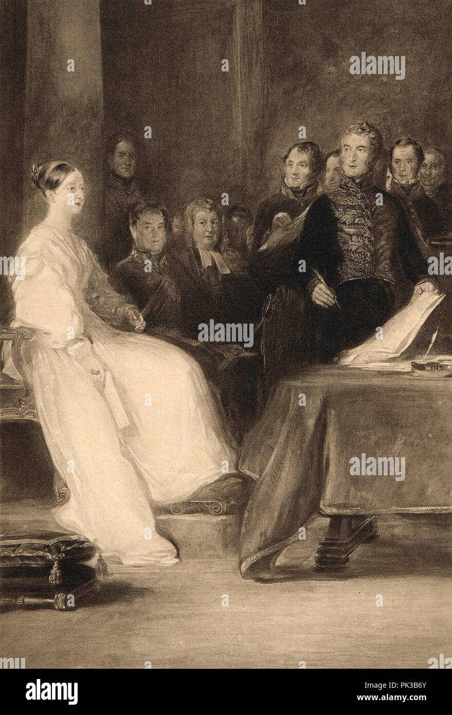 Queen Victoria's first council, 20 June 1837, Red saloon, Kensington Palace - Stock Image