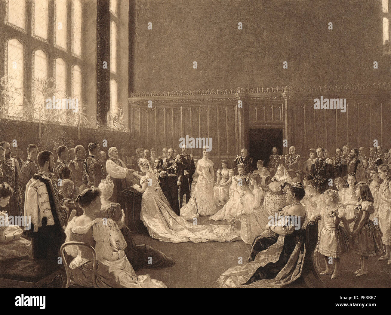 Wedding of Prince George, Duke of York, marriage to Princess Mary of Teck, St James' Palace, London, 6 July 1893 - Stock Image
