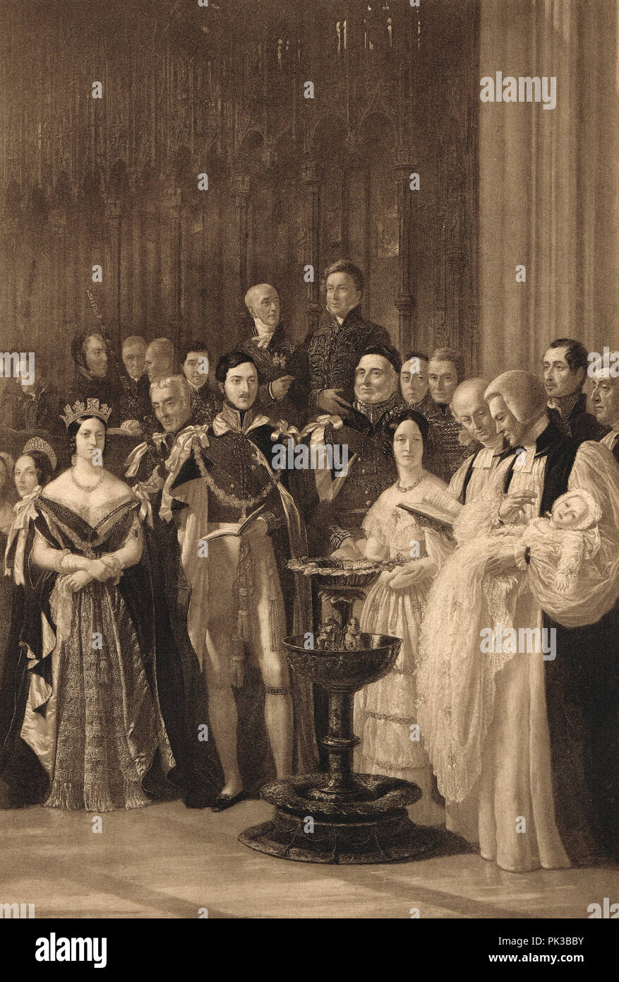 The baptism of Albert Edward, Prince of Wales (The future King Edward VII) at St George's Chapel, Windsor, Berks, England, 25 January 1842 - Stock Image