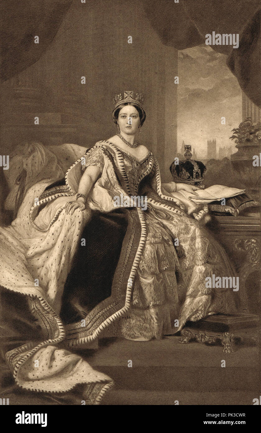 Queen Victoria, Queen of the United Kingdom of Great Britain and Ireland, Empress of India, Reigned 1837-1901.  In state robes, 1845 - Stock Image