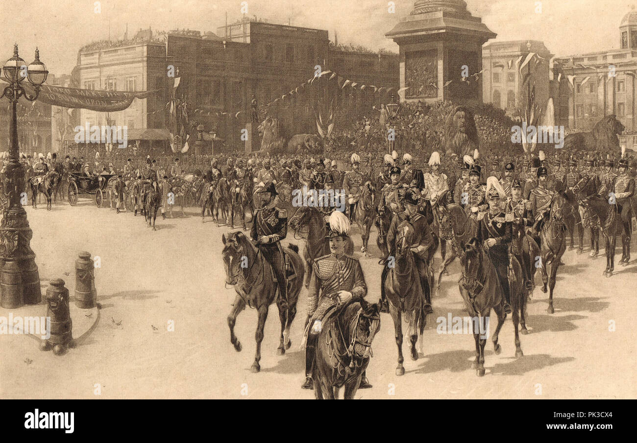 The Royal Procession Passing Trafalgar Square on Queen Victoria's Golden Jubilee, 21 June 1887 - Stock Image