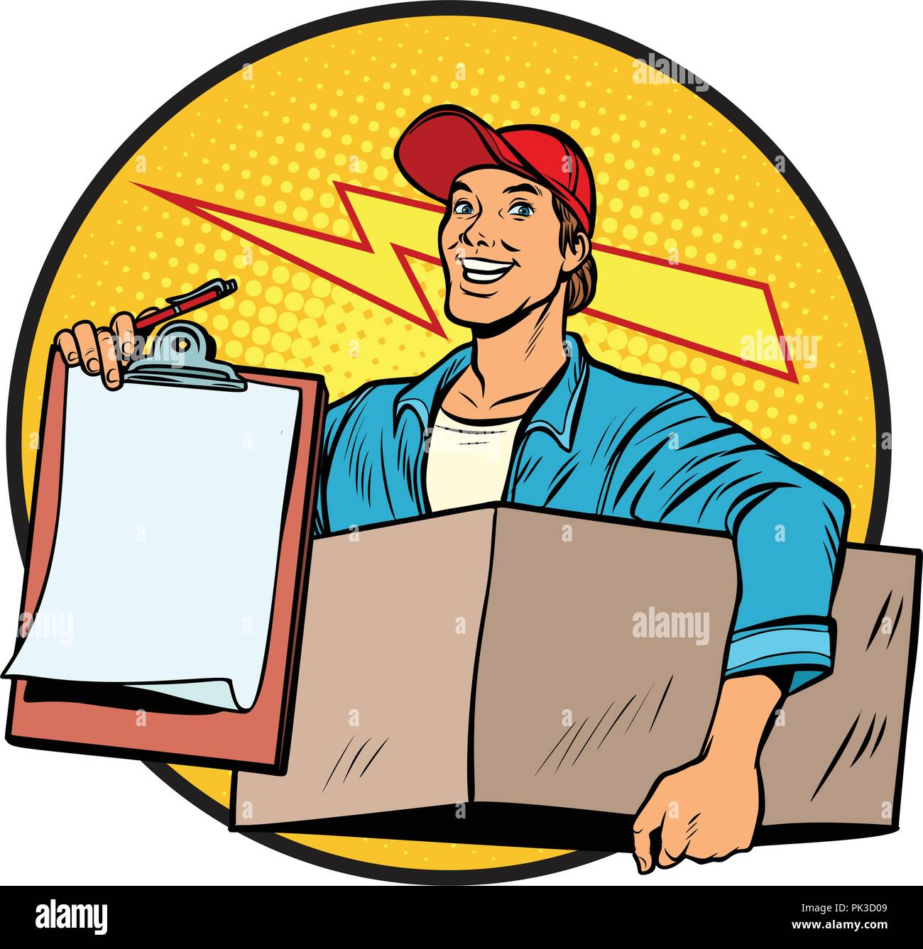 courier. Delivery of parcels and mail. Postman. - Stock Vector