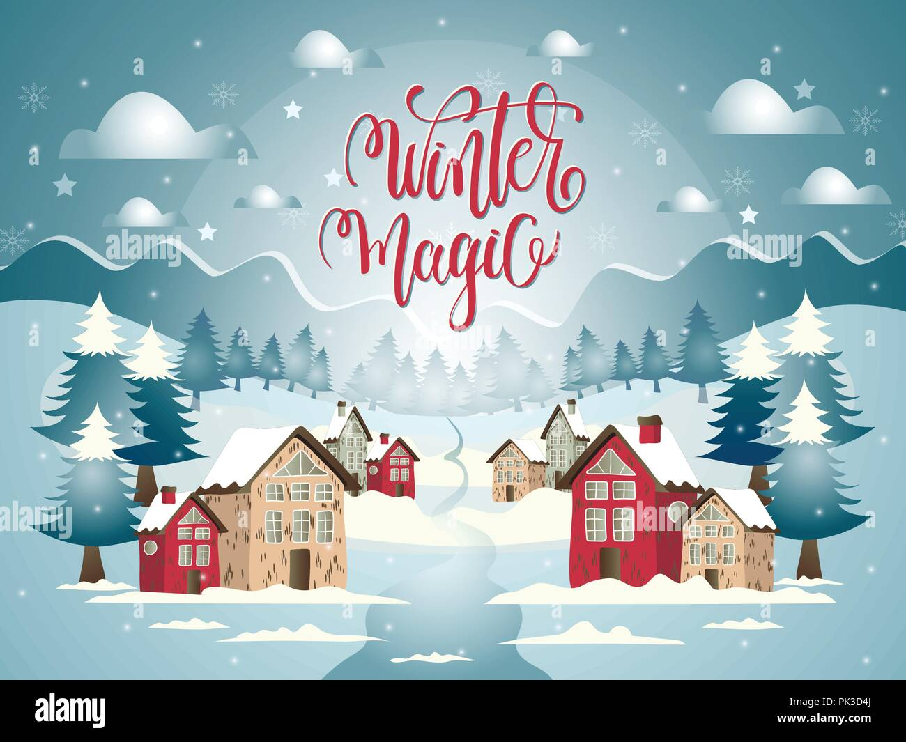 Christmas Land.Cartoon Illustration With Snowy Village And Marry Christmas