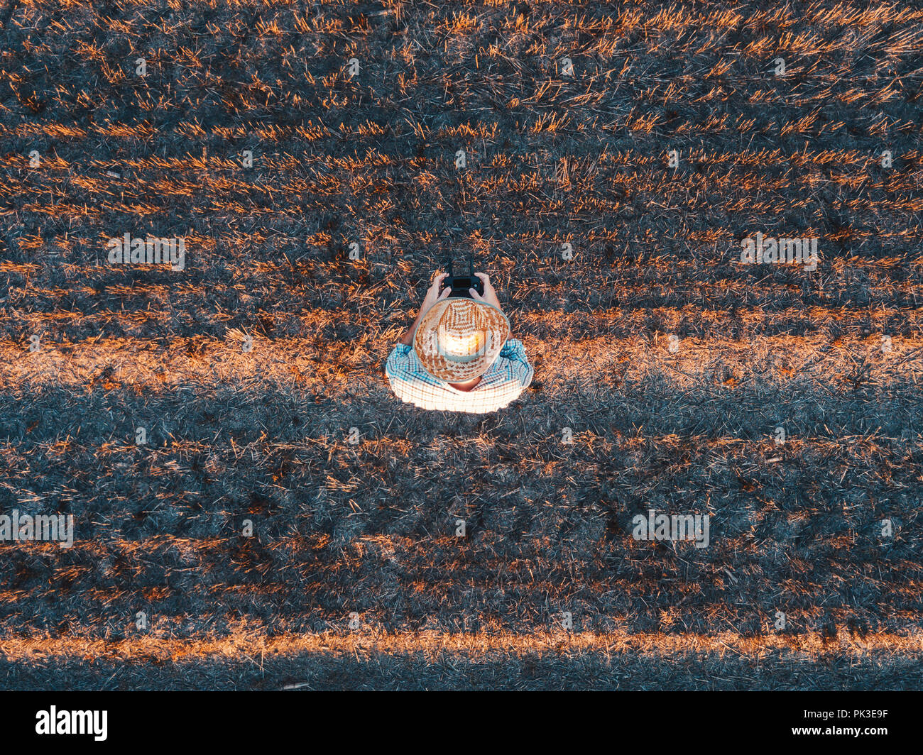 Top view of male farmer flying a drone with remote control in harvested wheat stubble field in summer sunset - Stock Image