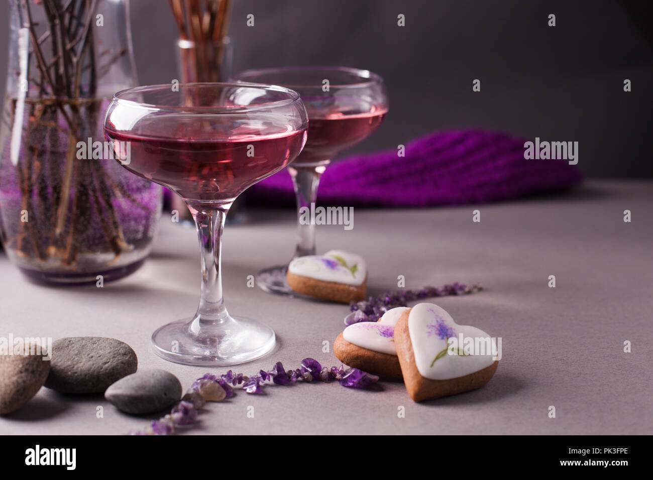 Close up view of colorful cocktails and decor for Halloween party. Mystical drink recipe for Halloween party. Selective focus. Copy space - Stock Image