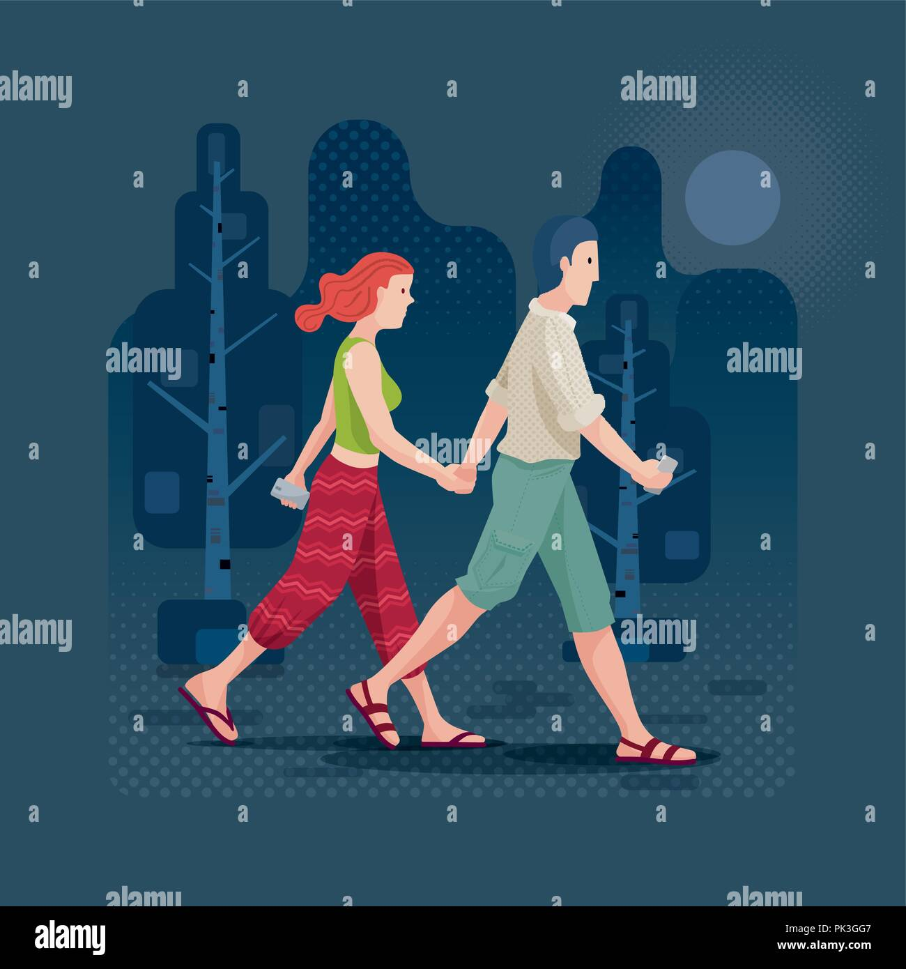 Young couple in love holding hands and walking in the park or forest. Vector illustration. Elements are layered separately in vector file. CMYK colors - Stock Vector