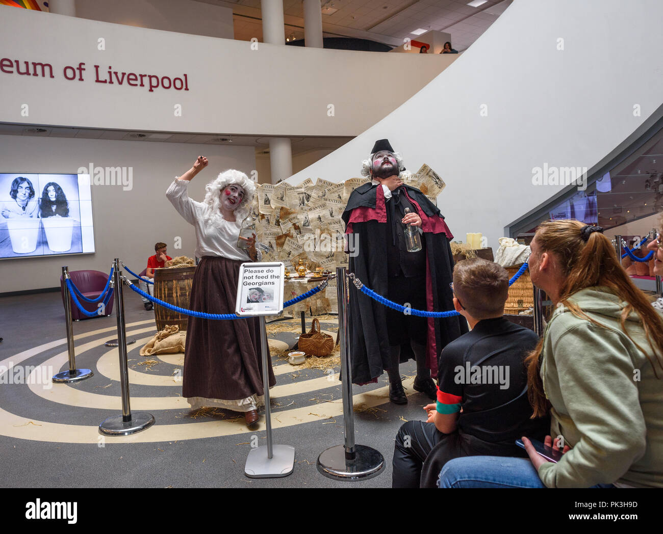 Liverpool 28/8/2018: History lesson on the Georgians in the foyer of the museum of Liverpool, Merseyside, England, United Kingdom. - Stock Image