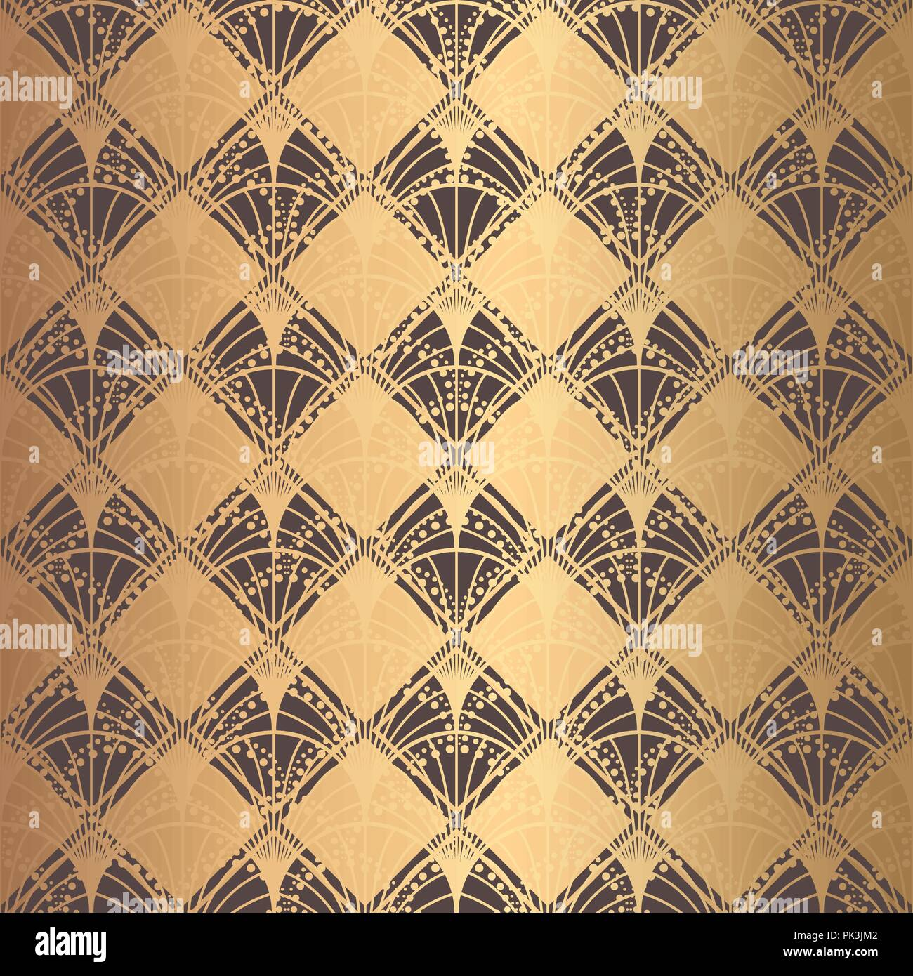 Irregular Art Deco Pattern Golden Background Scales - Stock Vector