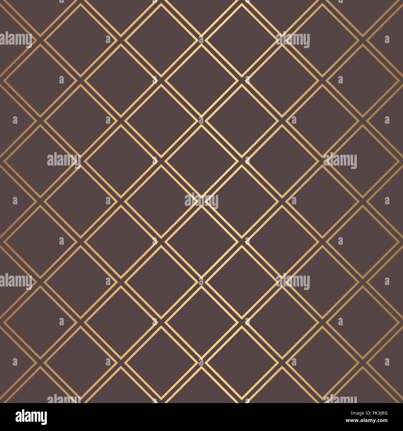 Art Deco Pattern Golden Squares Lines Background - Stock Vector