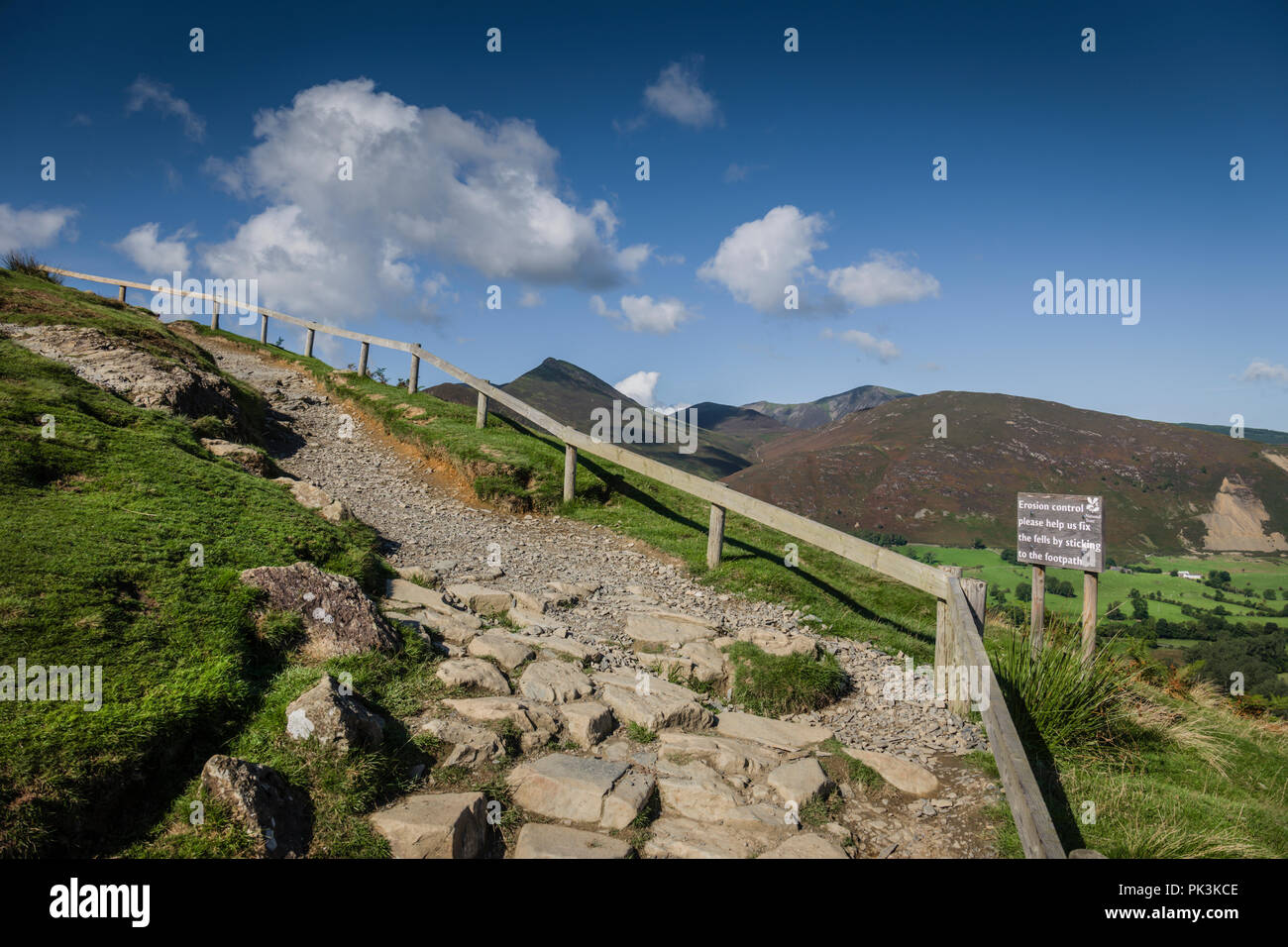 Pathway control to prevent erosion by heavy use of walkers, Catbells Fell, English Lake District. - Stock Image