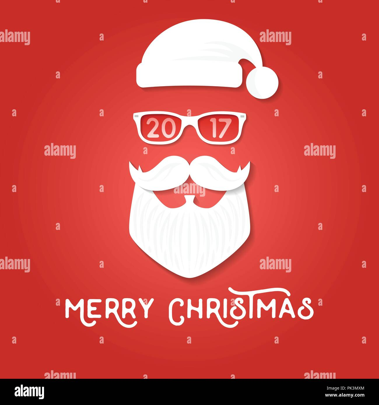 Merry Christmas Greeting Card Template Santa Claus On The Red