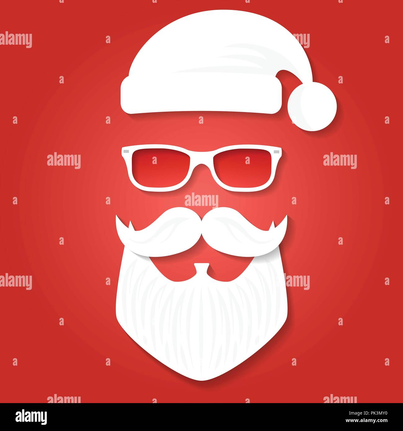 Christmas Greeting Card Template Santa Claus On The Red Backgrounds