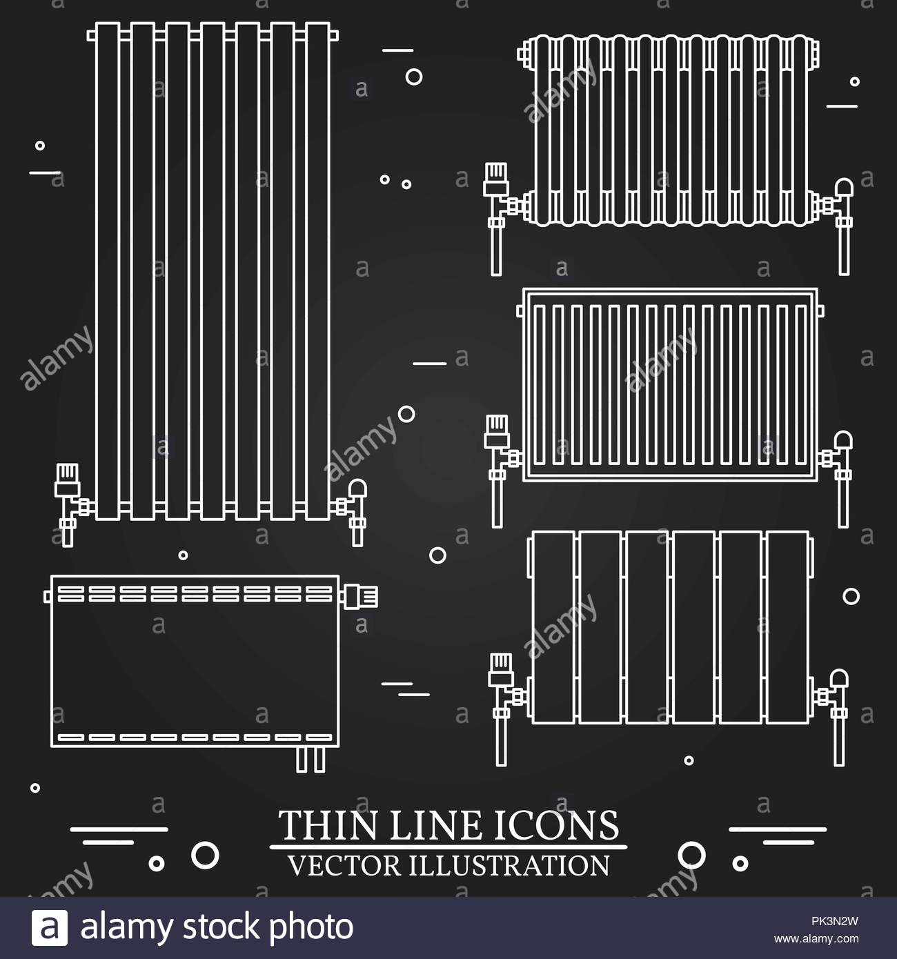 Central Heating Radiators icons thin line for web and mobile, modern ...