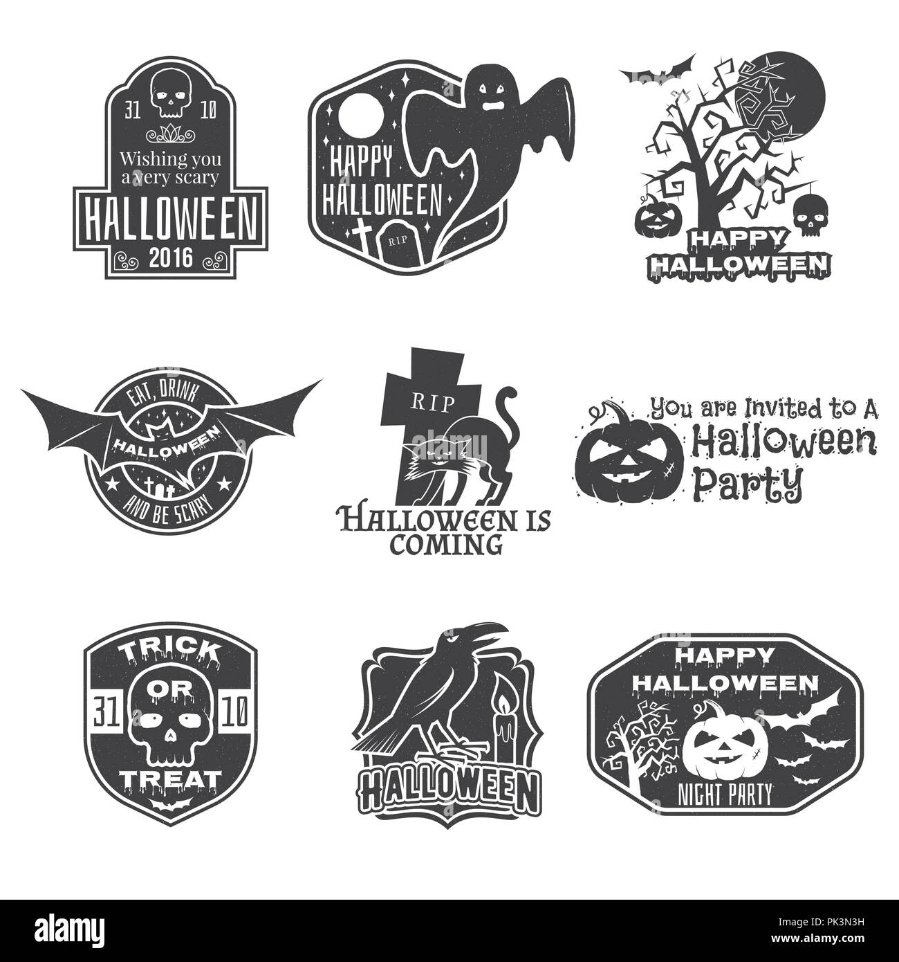 halloween vintage badges emblems or labels vector illustration