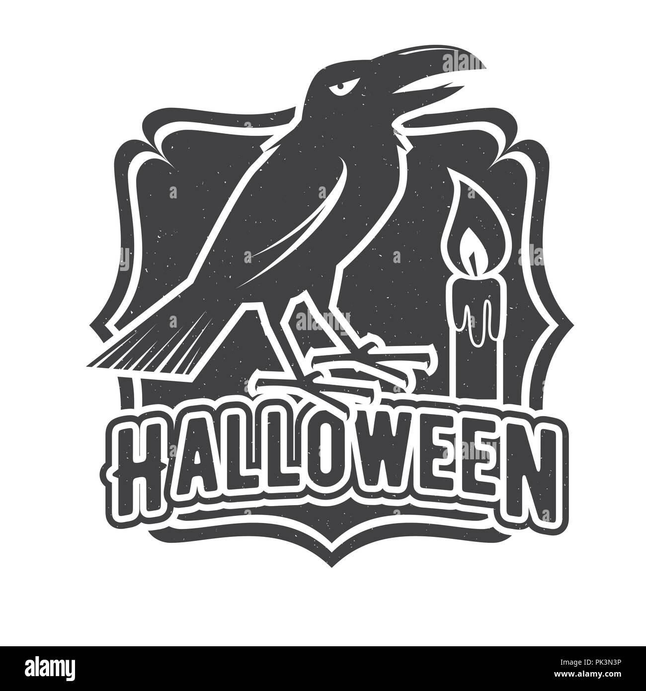 Halloween vintage badge, emblem or label. Vector illustration. For ...