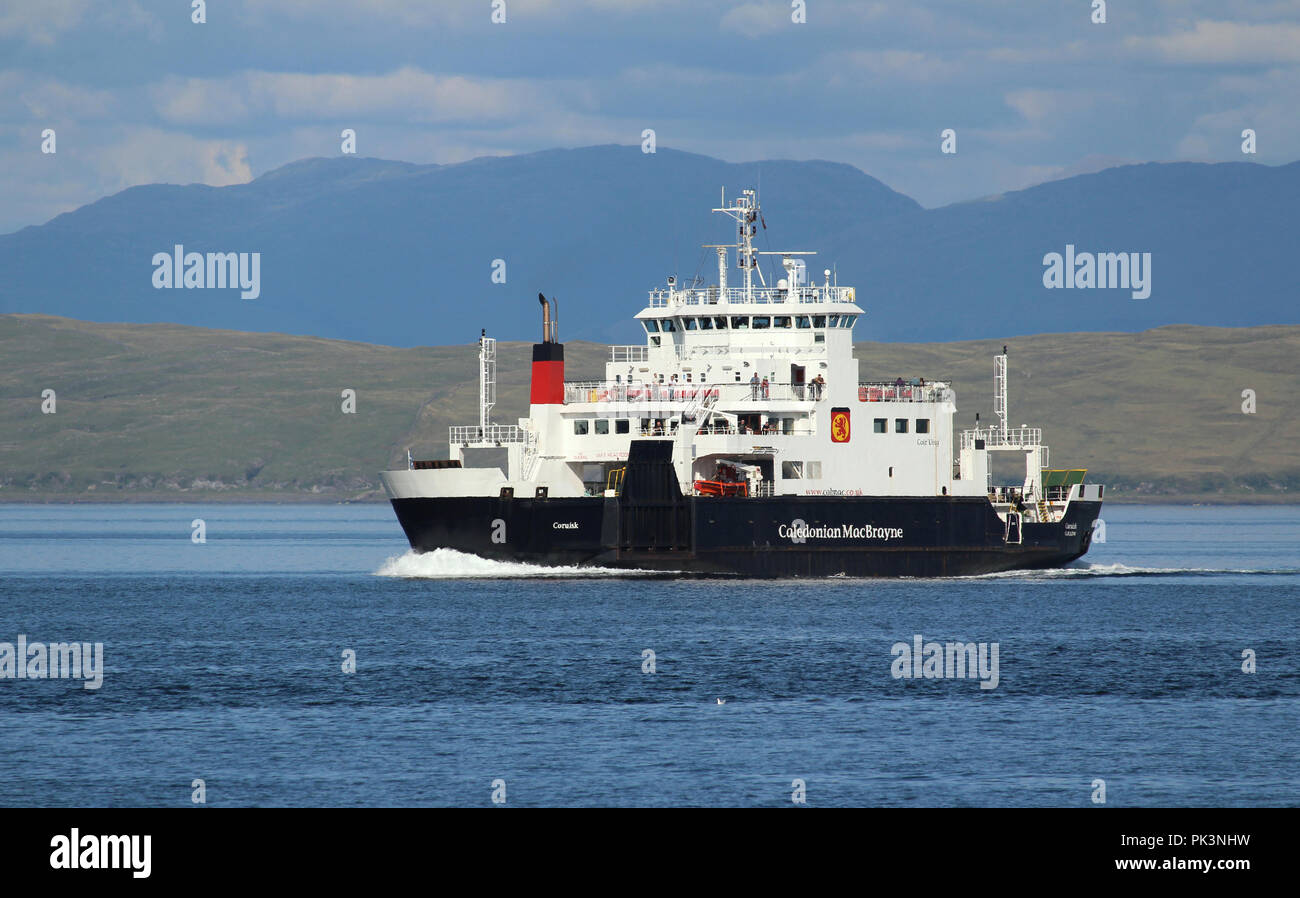 MULL, SCOTLAND, 25 JULY 2018: MV Coruisk sailing in the sound of Mull. It is a Caledonian Maritime Assets Ltd ferry built in 2003, Stock Photo