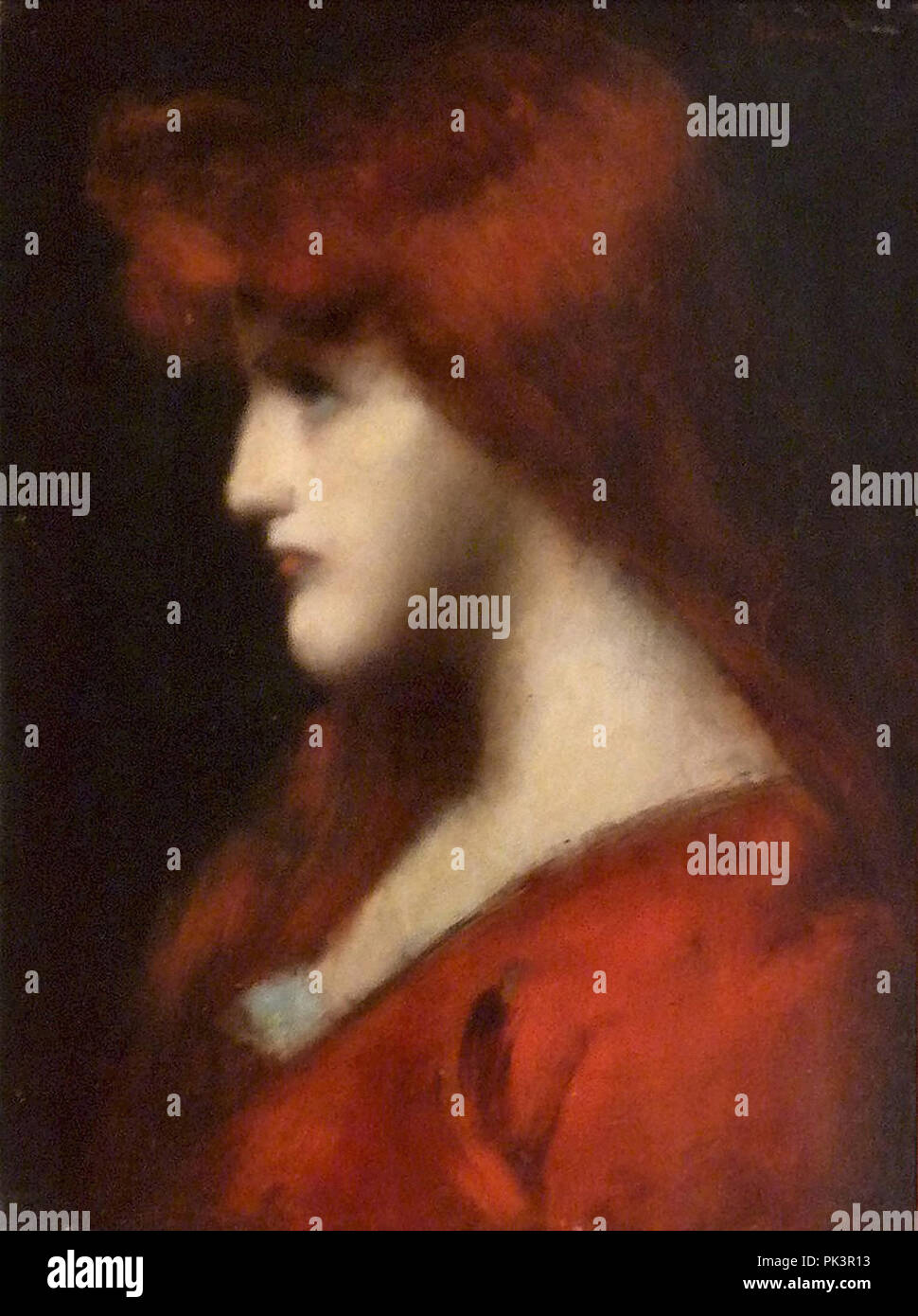 Henner  Jean-Jaques - Portrait of a Young Redheaded Woman - Stock Image