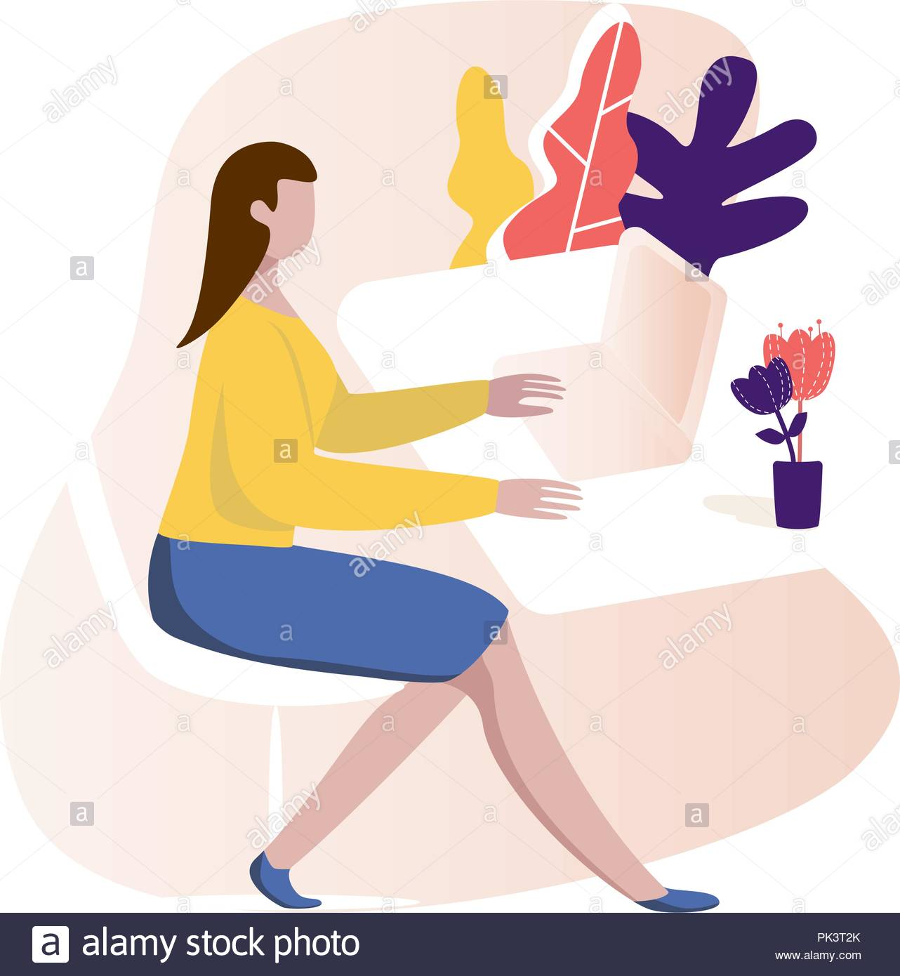 woman sitting at the table and working on the computer - Stock Vector