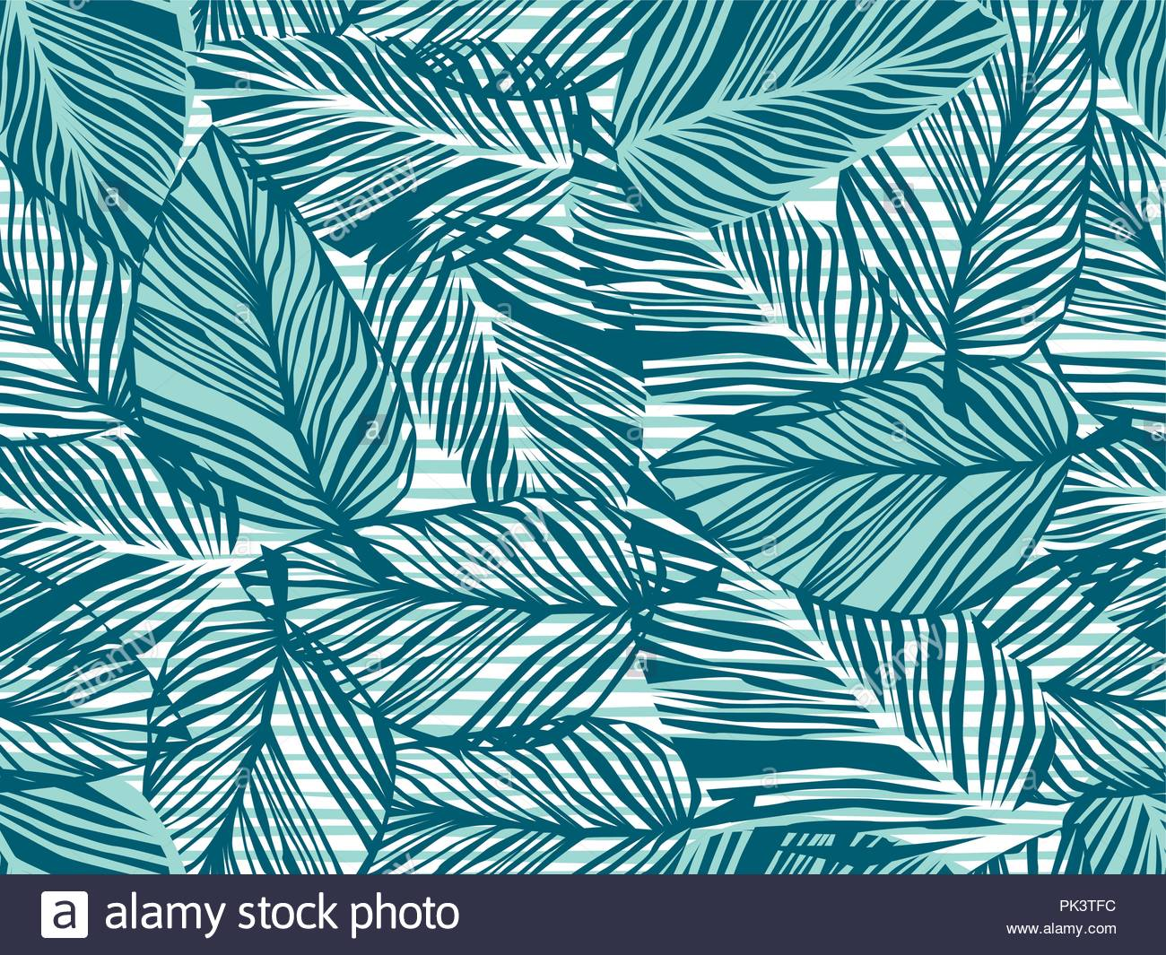 Tropical pattern, palm leaves seamless vector floral