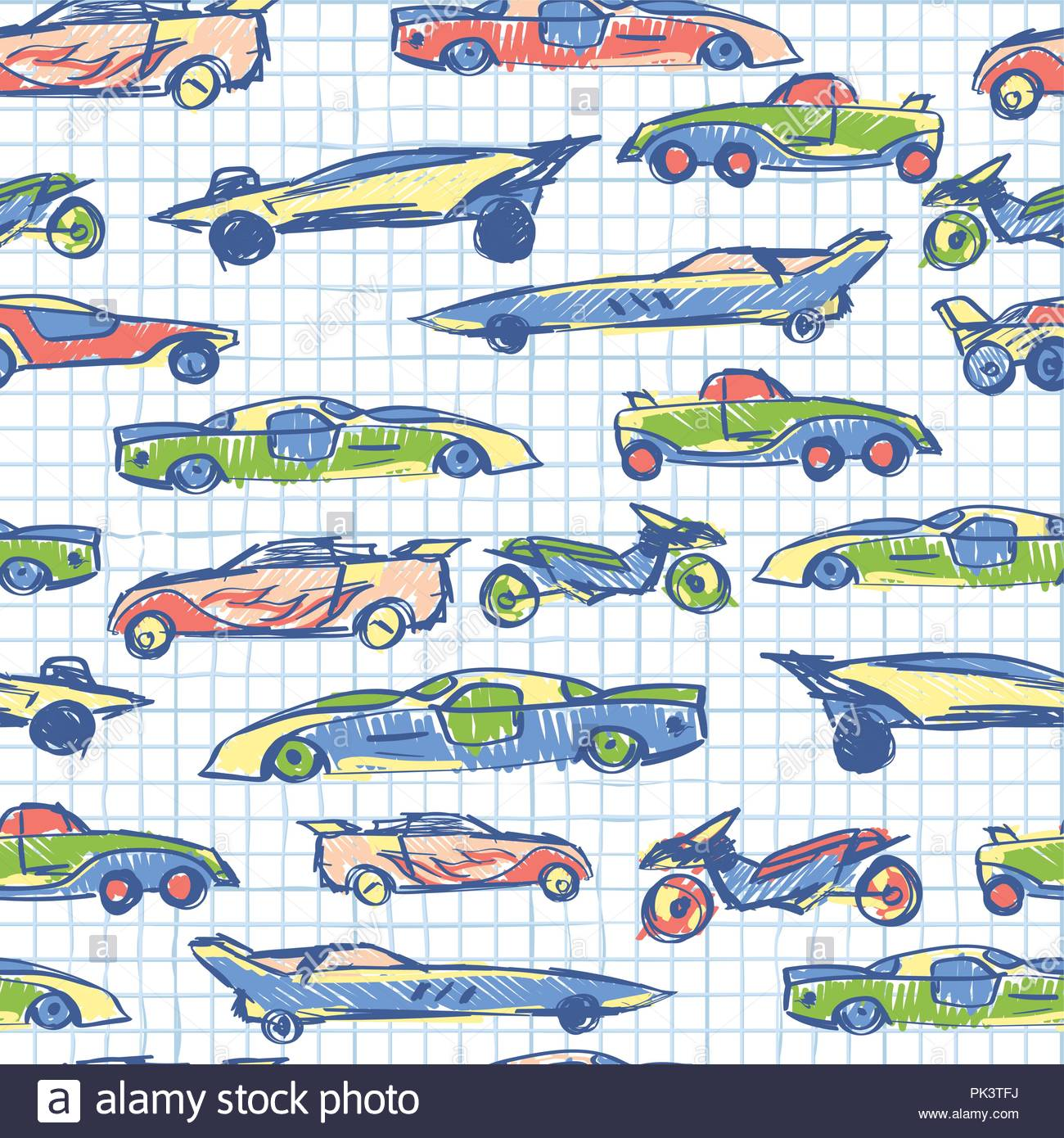 With Hand Drawn Cute Car School Collection Cartoon Cars Vector Illustration Notebook Paper Pattern Perfect For Kids Fabrictextilenursery Wallpaper