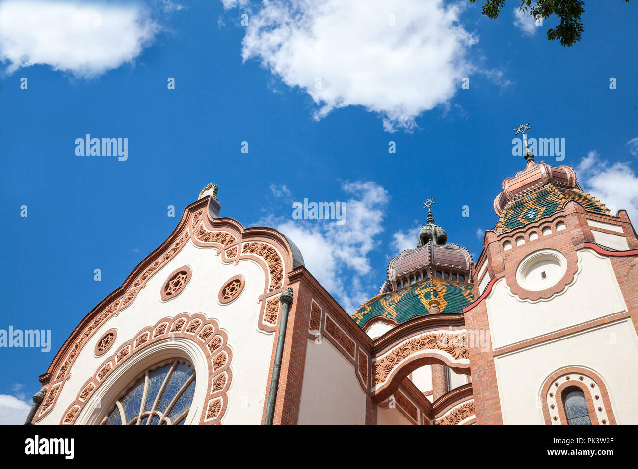 Subotica synagogue seen from the bottom during the afternoon. Also known as Jakab and Komor Synagogue, it is a symbol of the Central European judaism  - Stock Image