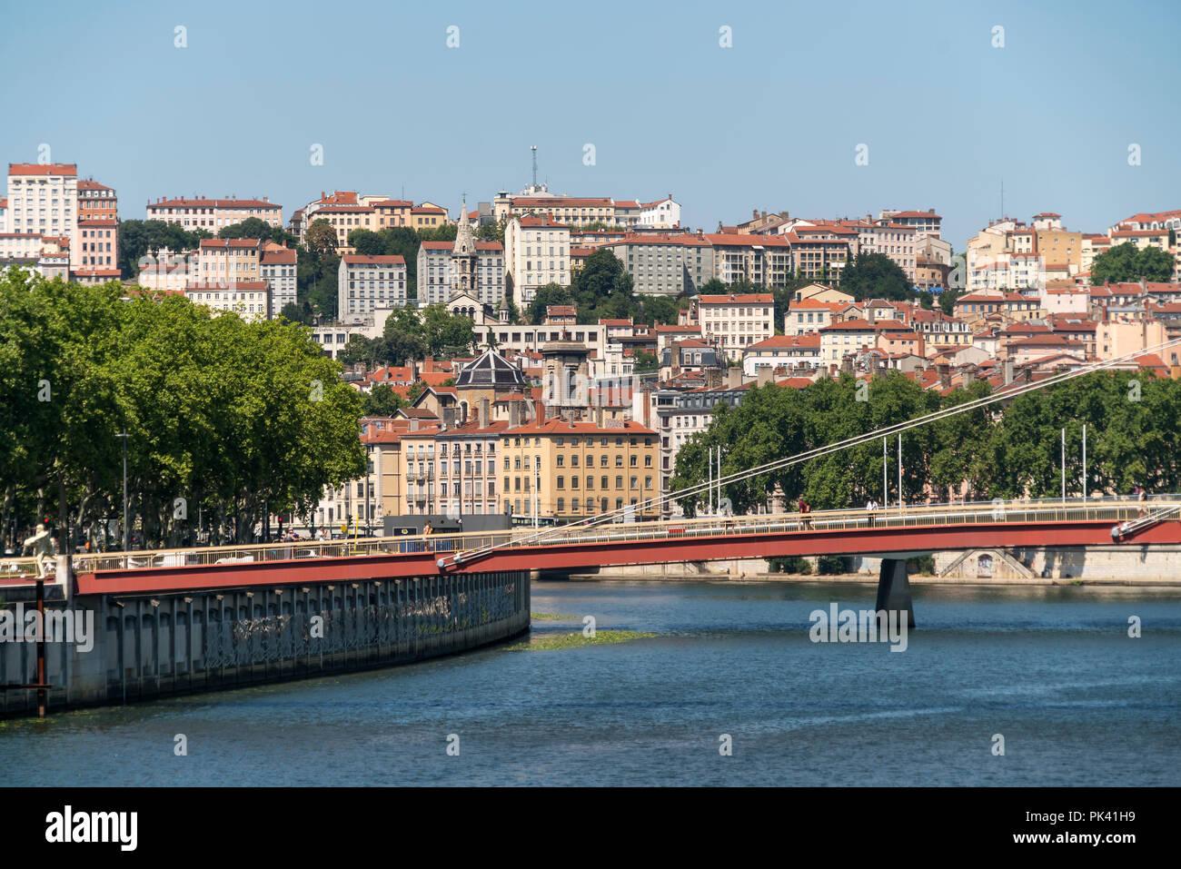 Lyon und der Fluss  Saone, Auvergne-Rhone-Alpes, Frankreich    Lyon and Saone river, Auvergne-Rhone-Alpes, France Stock Photo