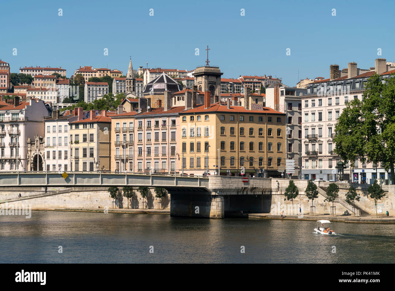 Lyon und der Fluss  Saone, Auvergne-Rhone-Alpes, Frankreich  | Lyon and Saone river, Auvergne-Rhone-Alpes, France Stock Photo
