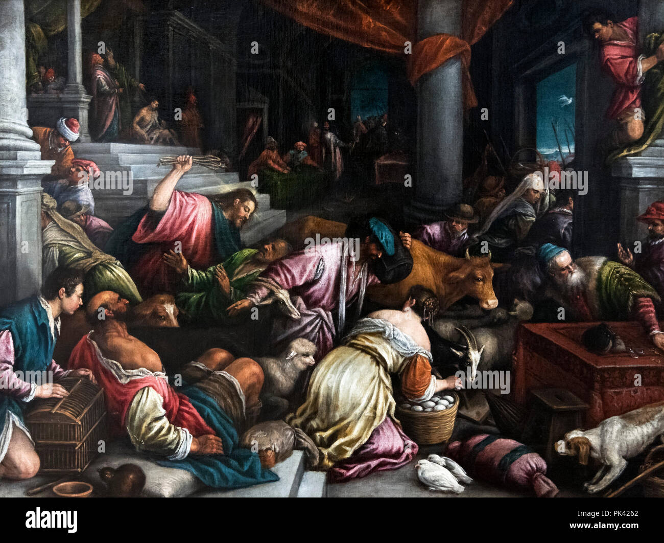 Christ Driving the Merchants from the Temple by Leandro Bassano (1557-1622), oil on canvas, c.1578 - Stock Image