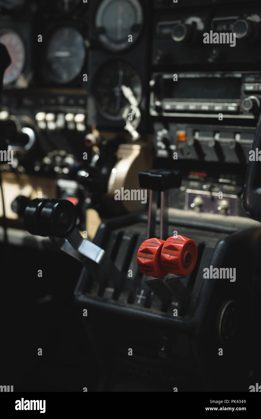 Throttle lever in aircraft cockpit - Stock Image