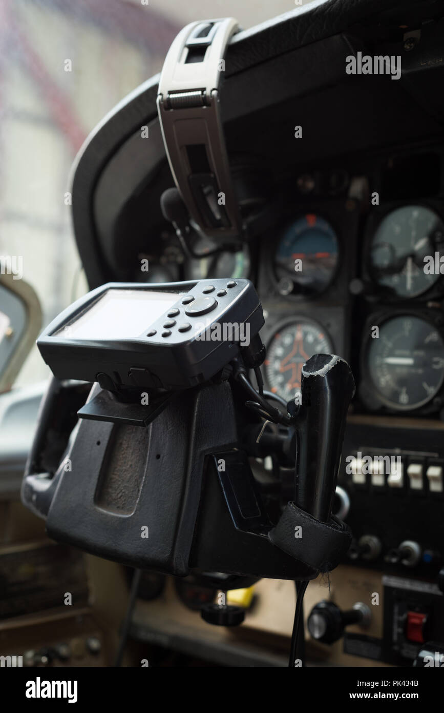Aircraft yoke in a cockpit - Stock Image