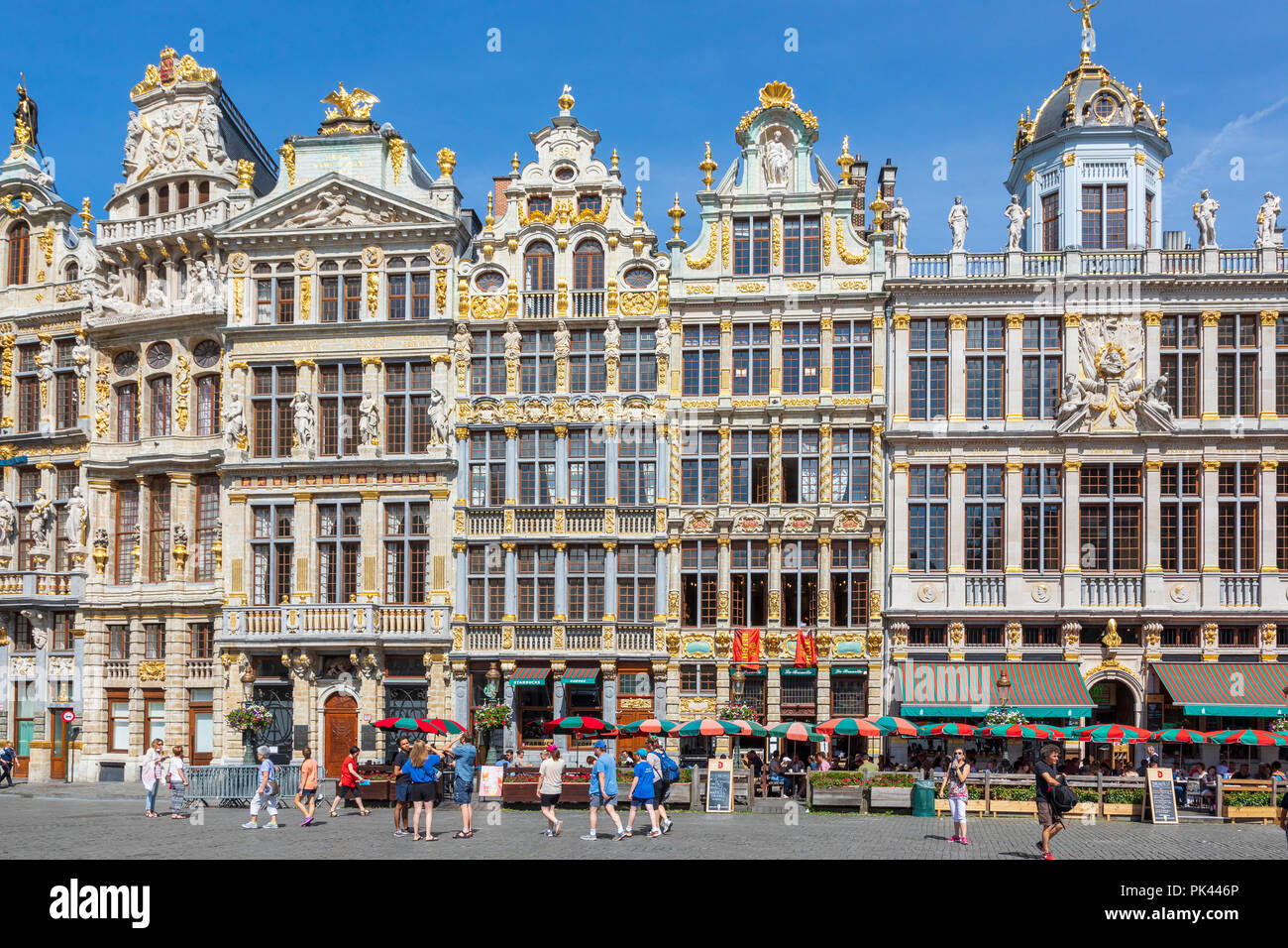 15th century architecture in Grand Place, Brussels, a UNESCO World Heritage site, Brussels, Belgium Stock Photo