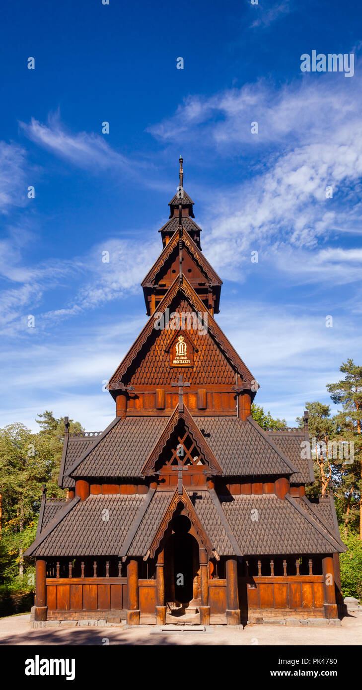 Reconstructed wooden Gol Stave Church (Gol Stavkyrkje) in Norwegian Museum of Cultural History at Bygdoy peninsula in Oslo, Norway, Scandanavia - Stock Image