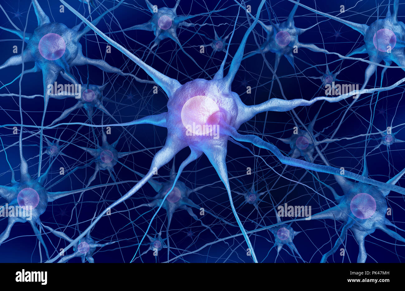 Neuron scientific concept and neurology cell anatomy as a mental health or brain function symbol as a 3D rendering. - Stock Image