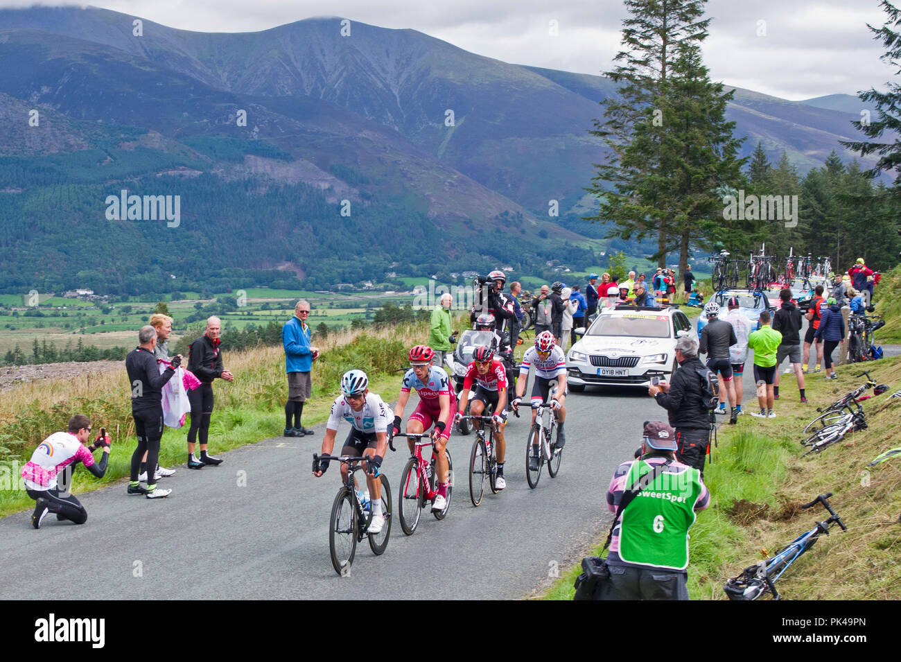 Stage 6, Tour of Britain 2018, 7 September. Breakaway on 1st ascent of Whinlatter Pass, Vasil Kiryienko: Tony Martin, James Shaw and Connor Swift. - Stock Image