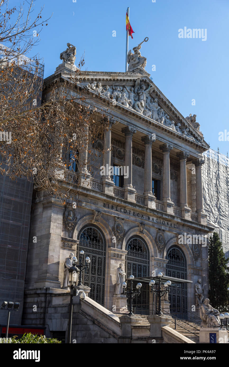 MADRID, SPAIN - JANUARY 21, 2018: National Archaeological Museum and National Library in City of Madrid, Spain Stock Photo