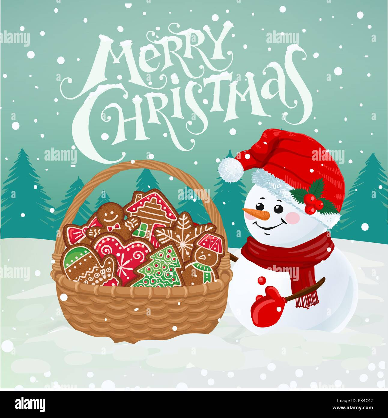 Merry Christmas Wishes Funny.Funny Snowman With Basket Full Of Gingerbread On Snowy