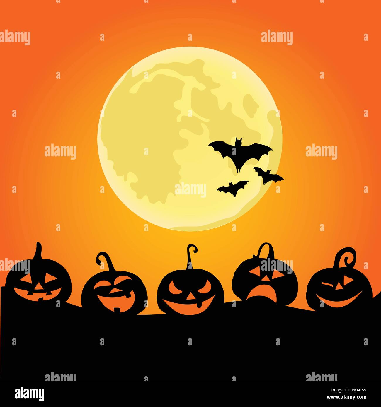 Halloween night background with pumpkins and the full moon - Stock Vector