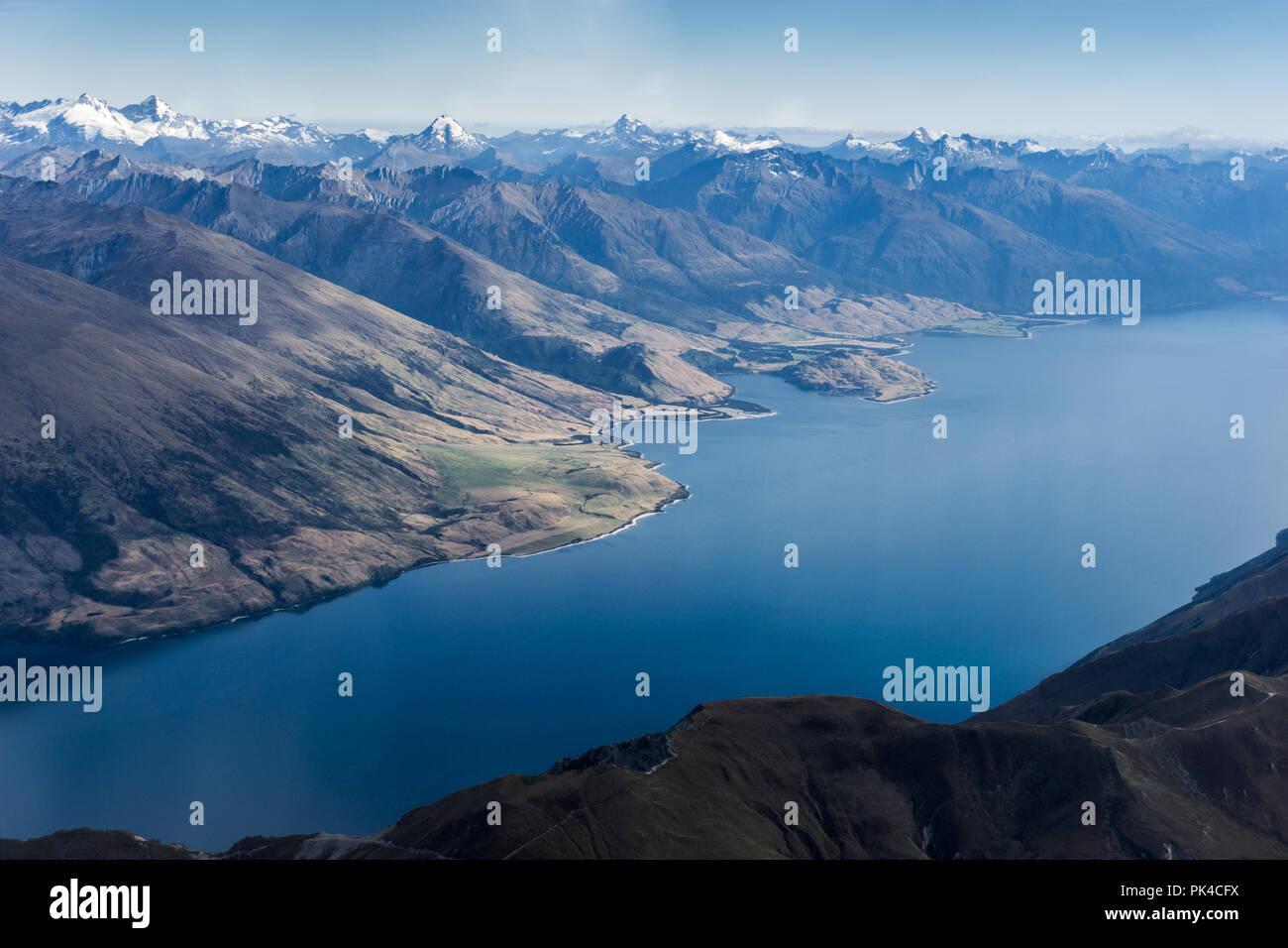 Scenic flight Over New Zealand National Park With Pristine River Views - Stock Image