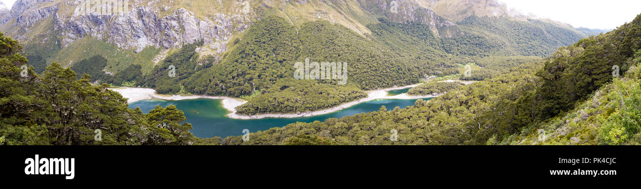 Routeburn Track Views To Spectacular Lake And Mountains - Stock Image