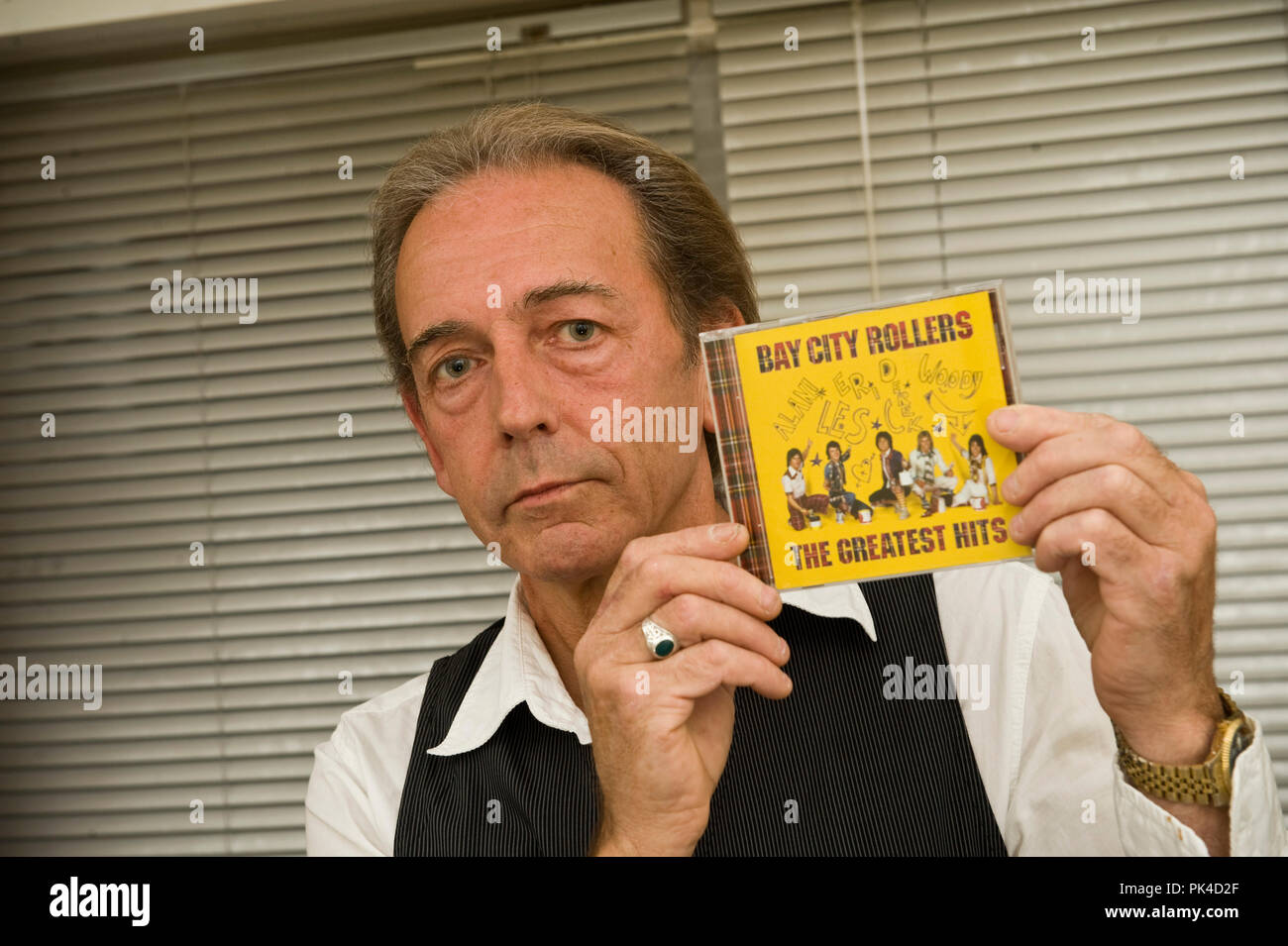 Ian Georgeson 07921 567360 Nobby Clark from Bay City Rollers with the album which is at the centre of a court case.  Pic: of band incl. Ian Mitchell b - Stock Image