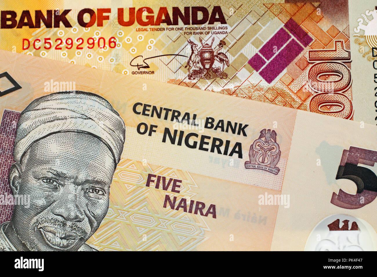 A close up image of a five Nigerian Naira banknote and a thousand Ugandan shilling bill - Stock Image