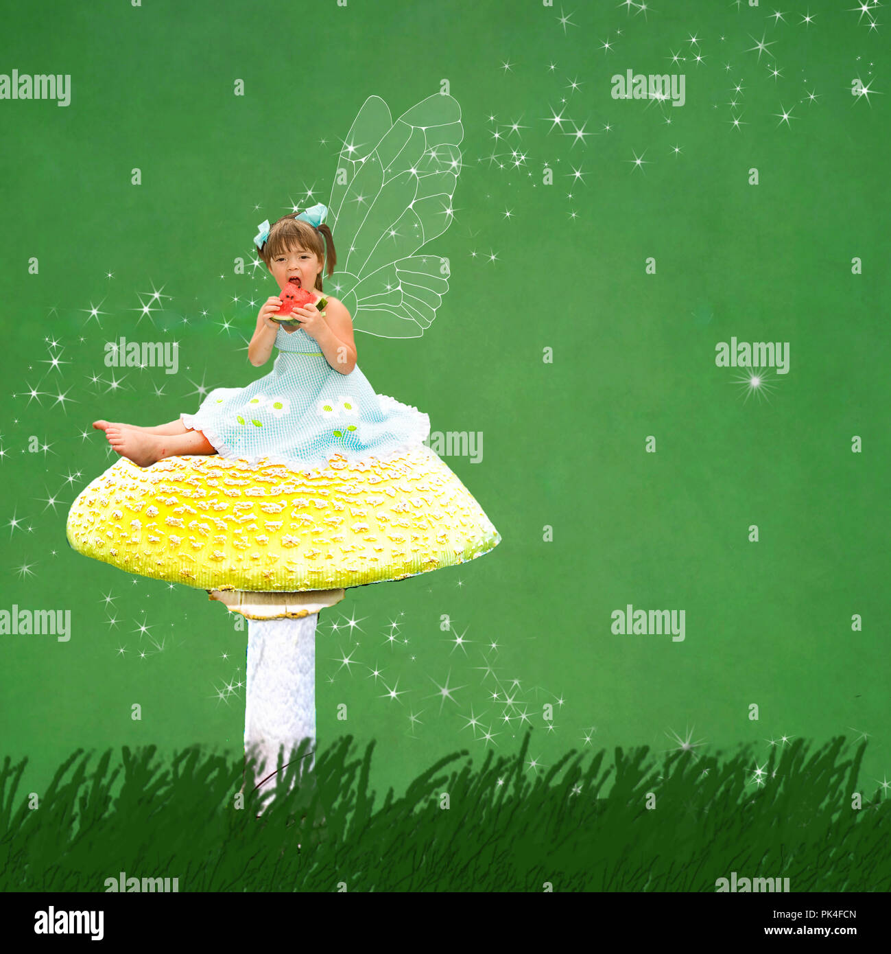 Magical and mystical image of a small girl sitting on top of a large yellow mushroom eating a slice of watermellon.  Star Gaze surrounds her.  Concept. - Stock Image